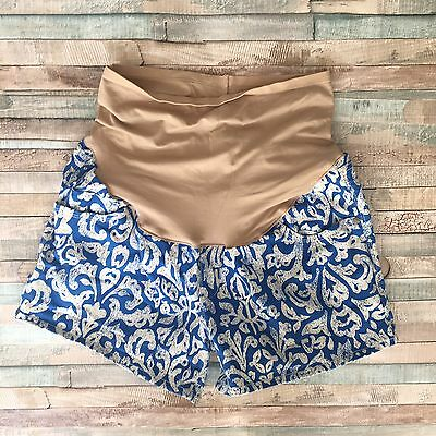 Old Navy Maternity Blue/White Print  Full Panel Short Shorts Size 8 EUC