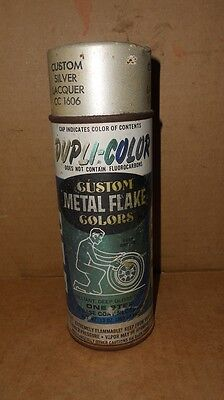 Vintage Dupli-Color Custom Metal Flake Colors Silver Laquer Spray Paint Can Rare