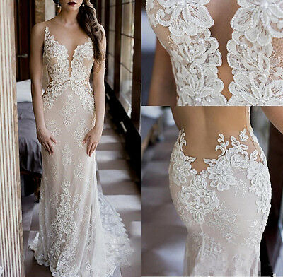 Mermaid White/Ivory Lace Appliques Wedding dress Bridal Gown  2 4 6 8 10 12 14 +