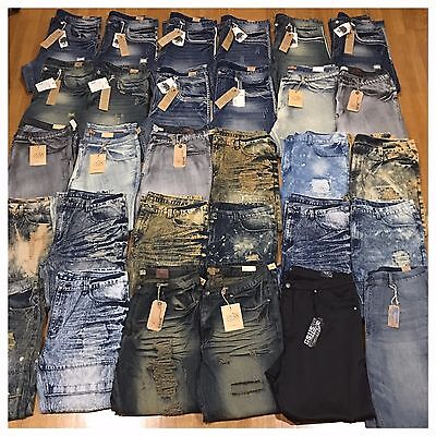New Big and Tall Mens Size 46 Fashion Denim Moto Rips Acid Bleached Jeans Pants