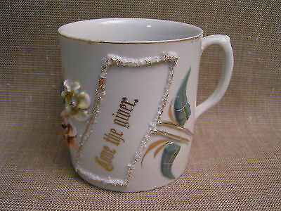 "1900s Victorian Altenburg Saxony ""Love the Giver"" Hand-Painted Porcelain Mug Cup"