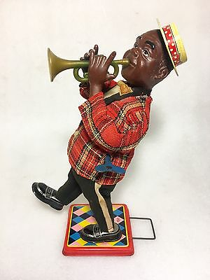 Antique Vintage Louis Armstrong Wind Up Tin Toy from Japan - Jazz / Trumpet