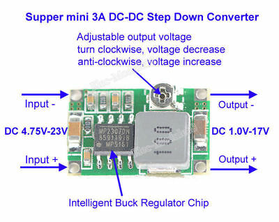 DC-DC 3.3V 5V 9V 12V 3A Adjustable Buck Step Down Voltage Regulator Power Module
