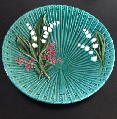 """Beautiful Teal Green German Majolica Lily of the Valley 11.5"""" Large Platter"""
