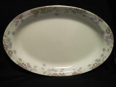"VTG Homer Laughlin Lg Platter ""EMPRESS 244"" Pink/Blue Chrysanthemums Gold Trim"