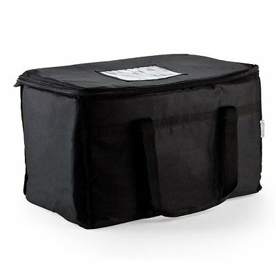 Insulated Nylon Food Delivery Bag 23in x 13in 15in Black Pizza Delivery Outdoor