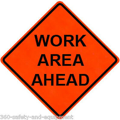 """Work Area Ahead 48"""" X 48"""" Vinyl Fluorescent Roll Up Sign With Ribs"""