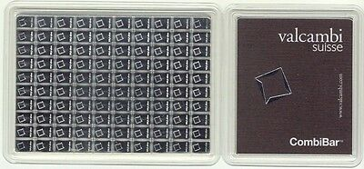Valcambi Suisse 100 x 1 Gram Silver CombiBar 100X1 Gram .999 Assay Card Sealed
