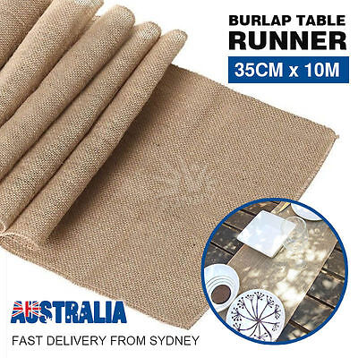 1/2/4 35CMX10M Hessian Burlap Roll Jute Table Runner Wedding Decoration