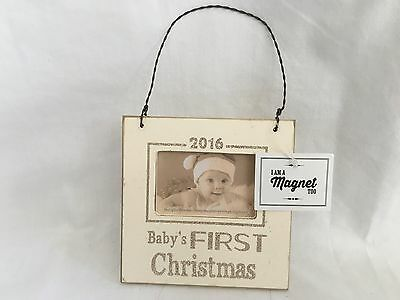 Baby's First Christmas Photo Frame Keepsake Ornament Magnet 2016