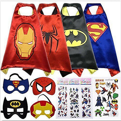 Superhero Cape (1 cape+1 mask) set for kids birthday party favors and ideas sale