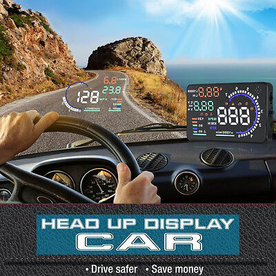 "5.5"" A8 HUD Head Up Display OBD II GPS MPH / KM/h Speedometer Speed WarningH&T"