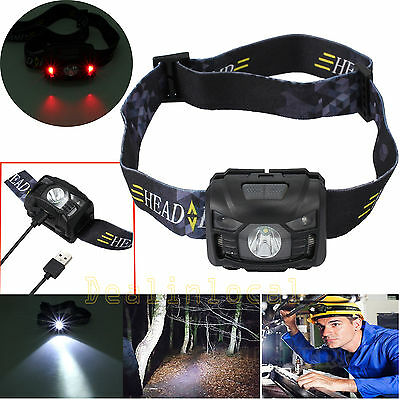 CREE LED Head Torch Headlight Lamp USB Rechargeable Camping Induction Headlamp