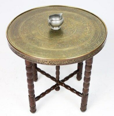 Antique Islamic Ornate Embossed Brass Top Folding Coffee Side Table [PL3278]
