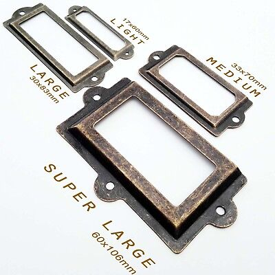 6/48pcs Heavy Duty Cabinet Drawer Label Pull Frame Handle File Name Card Holder