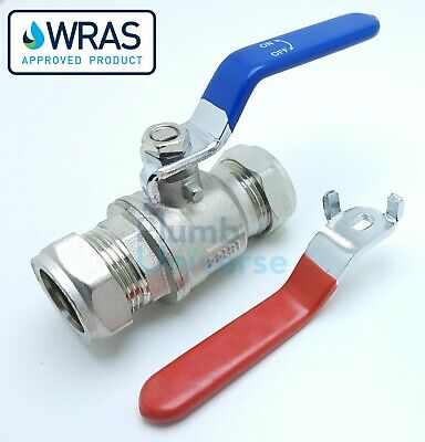 Lever Ball Valve 15mm/22mm/28mm Blue/Red Handle Full Bore Chrome Plated