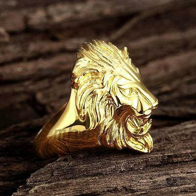 Men's Ring 8-12 Vintage Lion Head Rings Stainless Steel Gold Plated