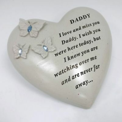 David Fischhoff Butterfly & Blue Diamante Memorial Grave Heart Stone - Daddy