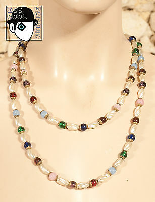 VINTAGE 50s SINGLE STRAND GLASS BEAD & BAROQUE SYNTHETIC PEARL NECKLACE - (Q)