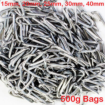 Galvanised U Nails Netting Staples Fencing Chicken Wire Mesh 15/20/25/30/40 500g