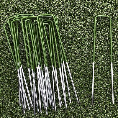 50 Half Green Artificial Grass Turf U Pins Metal Galvanised Pegs Staples Weed