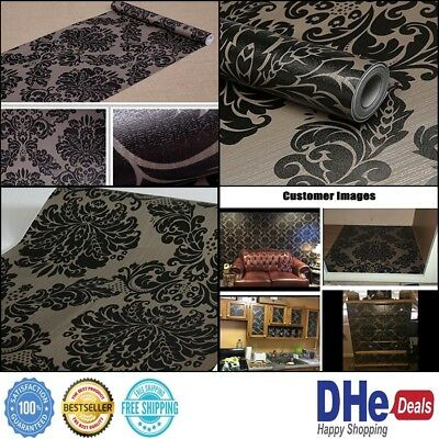 Self Adhesive Contact Paper Damask Wallpaper Decorative Roll Cover Vinyl Black