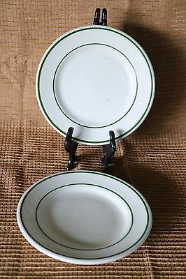 Shenango Vitrified Lawrence China Restaurant Ware Green Bread Butter Plates (2)