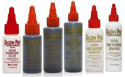 Salon Pro Hair Extension Bonding Glue & Black White Remover (All sizes)