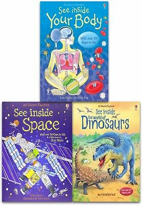 Usborne Flap Book, See Inside Collection 3 Books Set Space, Dinosaurs, Body