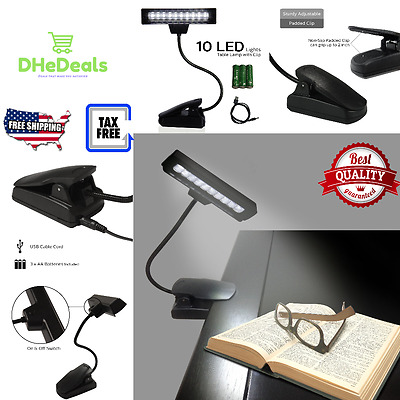 Book Reading In Bed LED Light Clip On White Bright Panel Battery Power USB Desk