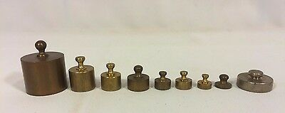 8 Antique Weights Brass & Nickel Plated .1 Ounce to 2 Ounces