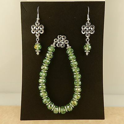 Silver Irish Celtic Knot Earring & Stretch bracelet set with green crystal beads
