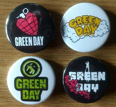 Green Day 25mm button badges set of 4