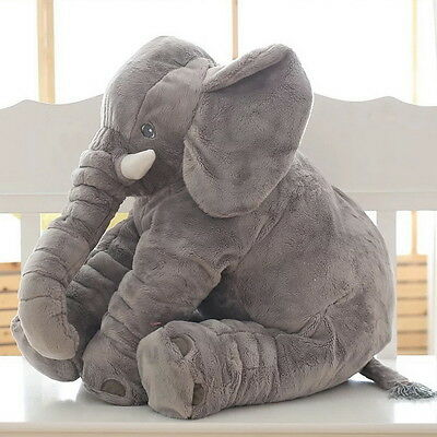 Baby Children/Kids Soft Plush Elephant Sleep Pillow Lumbar Cushion Toys New Gray