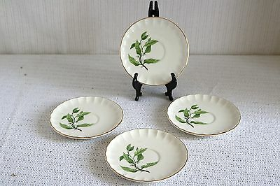 "W S George Pottery GREEN VALLEY B-8760 Bolero Orange Blossom 6"" Saucers (4)"