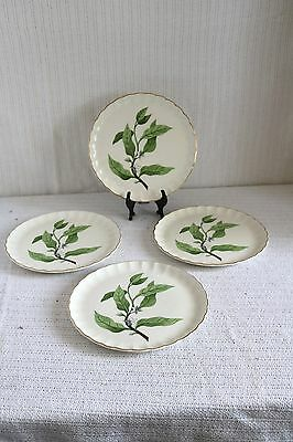 W S George Pottery GREEN VALLEY B-8760 Bolero Orange Blossom Luncheon Plates (4)