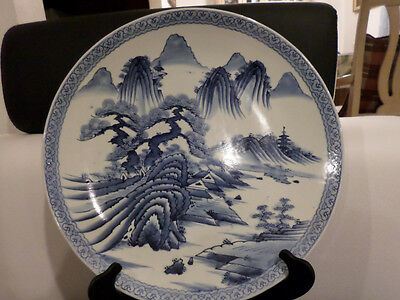 Antique large Beautiful Oriental Blue-White Porcelain Plate 16""