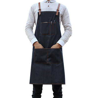 Hot Denim Full Apron Leather Straps Barista Painter Barber Artist Chef Workwear