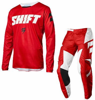 Shift Racing Mens Red White Label Ninety Seven Dirt Bike Jersey & Pants Combo