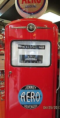Rare Jenney Aero Bennett Gas Pump Model 966 W/glass Globe