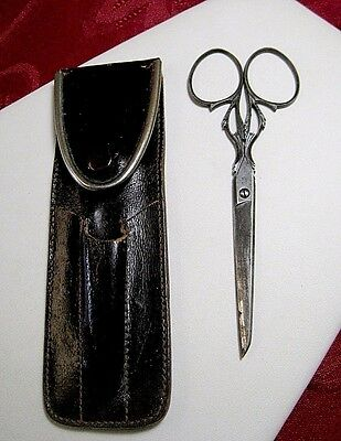Antique Scissors Very Fine Steel Victorian Sewing Nogent 12Cm In The Case