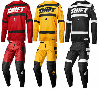 Shift Racing Mens Black Label Strike Dirt Bike Jersey & Pants Combo Kit MX ATV