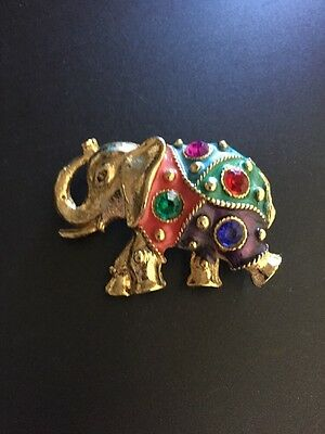 Gold Tone Multicolored Quilt Like Lucky Elephant Rhinestones Brooch