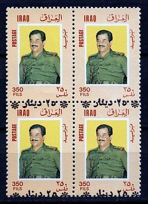 Iraq 1996 Sc 1517A  Saddam Hussein Referendum Stamp Block Of 4  Over Print Error