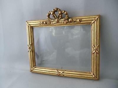 Antique Vtg Italian Florentine Gold Leaf Tole Wood Bow & Ribbons Picture Frame