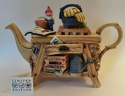 Large Paul CARDEW Collector's Teapot, Gardeners Bench, Lmted Edition & Signed!