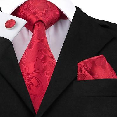 New Classic Mens Red Floral Jacquard Woven 100% Silk Tie Set USA Delivery LS-306