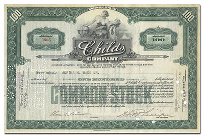 Childs Company Stock Certificate Issued to Jeptha H. Wade, Jr.