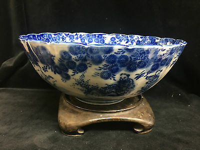 Vintage Asian Blue And White  Porcelain Bowl