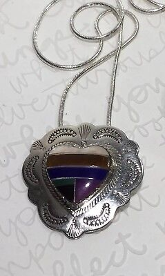 """SW Handmade Multi-stone Inlay Stamped HEART CONCHO 925 Sterling Necklace 20"""""""
